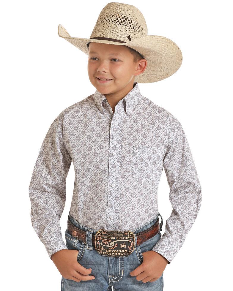 Panhandle Select Boys' White Floral Geo Print Long Sleeve Western Shirt , White, hi-res