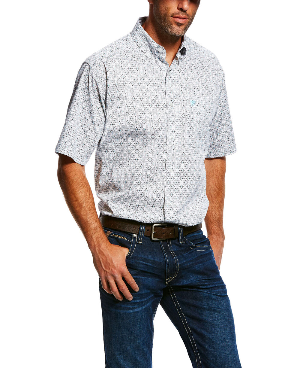 Ariat Men's Midwood Stretch Geo Print Short Sleeve Western Shirt , White, hi-res
