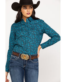 Roper Women's Blue Poplin Paisley Print Long Sleeve Western Shirt, Blue, hi-res