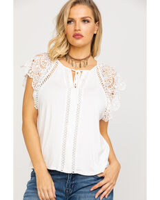 5799674d01adb2 Miss Me Women s White Lace Short Sleeve Top