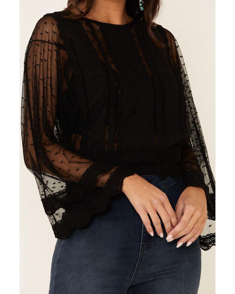 Band Of Gypsies Women's Black Mesh Dot Lace Long Sleeve Top, Black, hi-res