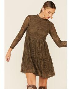 Molly Bracken Women's Lace Mockneck Dress, Olive, hi-res