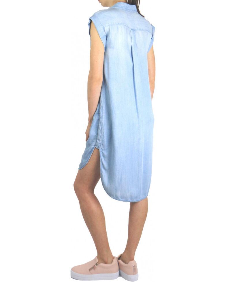 Tractr Blu Women's Hi Low Shirt Dress , Indigo, hi-res
