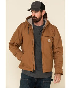 Carhartt Men's Washed Duck Sherpa-Lined Zip-Front Work Hooded Jacket - Tall, Brown, hi-res