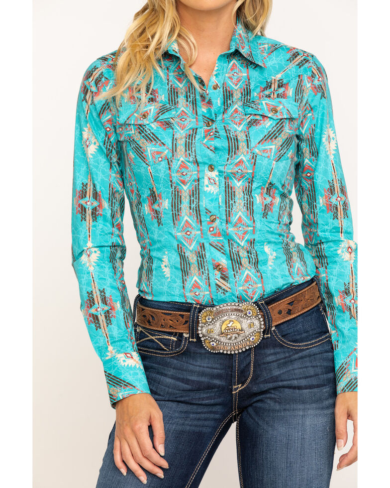 Rock & Roll Cowgirl Women's Mint Aztec Snap Long Sleeve Western Shirt, Teal, hi-res