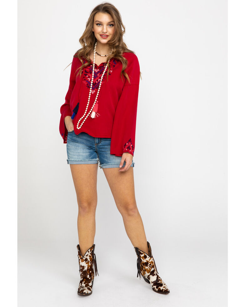 Ariat Women's Red Stand Tall Long Sleeve Tunic, Red, hi-res