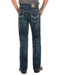 Rock & Roll Cowboy Boys' Adjustable Waistband Boot Cut Jeans, Blue, hi-res