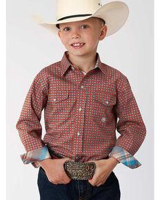 Roper Boys' Amarillo Orange Foulard Geo Print Long Sleeve Western Shirt , Orange, hi-res