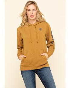 Ariat Women's Bronze Brown R.E.A.L. Arm Logo Hoodie Sweatshirt, Gold, hi-res