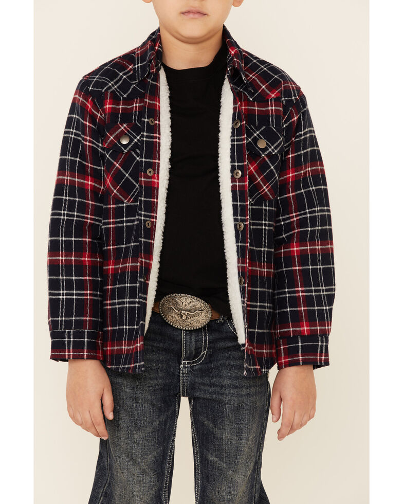 Roper Boys' Red Plaid Sherpa Lined Flannel Shirt Jacket , Red, hi-res