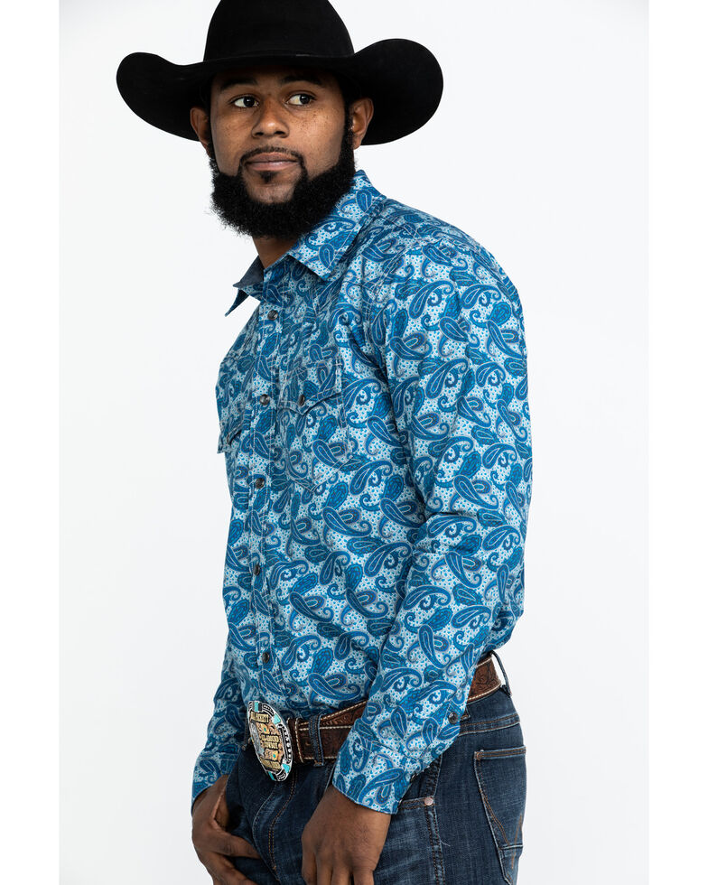 Cody James Men's Roy Grandstand Paisley Print Long Sleeve Western Shirt - Tall , Royal Blue, hi-res