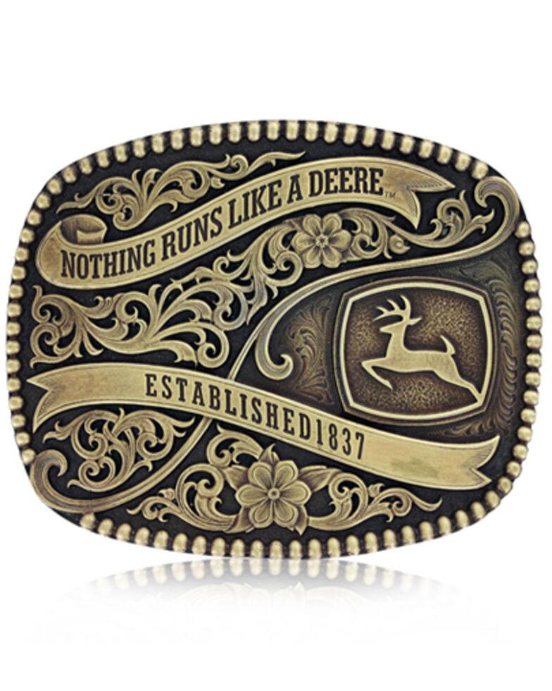 Montana Silversmiths Men's John Deere 1837 Belt Buckle, Silver, hi-res