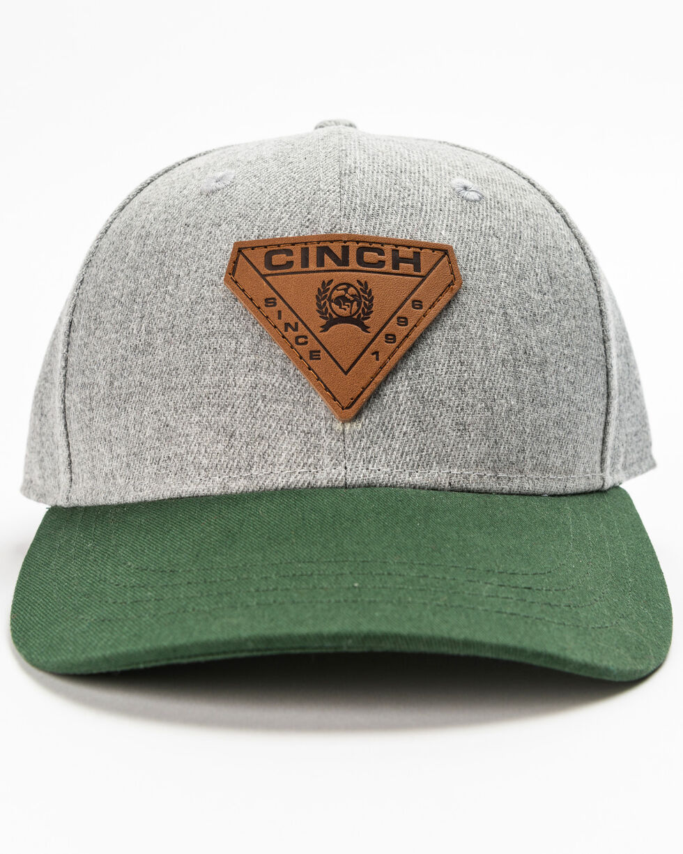 Cinch Men's Diamond Patch Fitted Cap, Heather Grey, hi-res