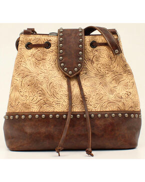 Blazin Roxx Women's Embossed Concealed Carry Bucket Bag, Brown, hi-res
