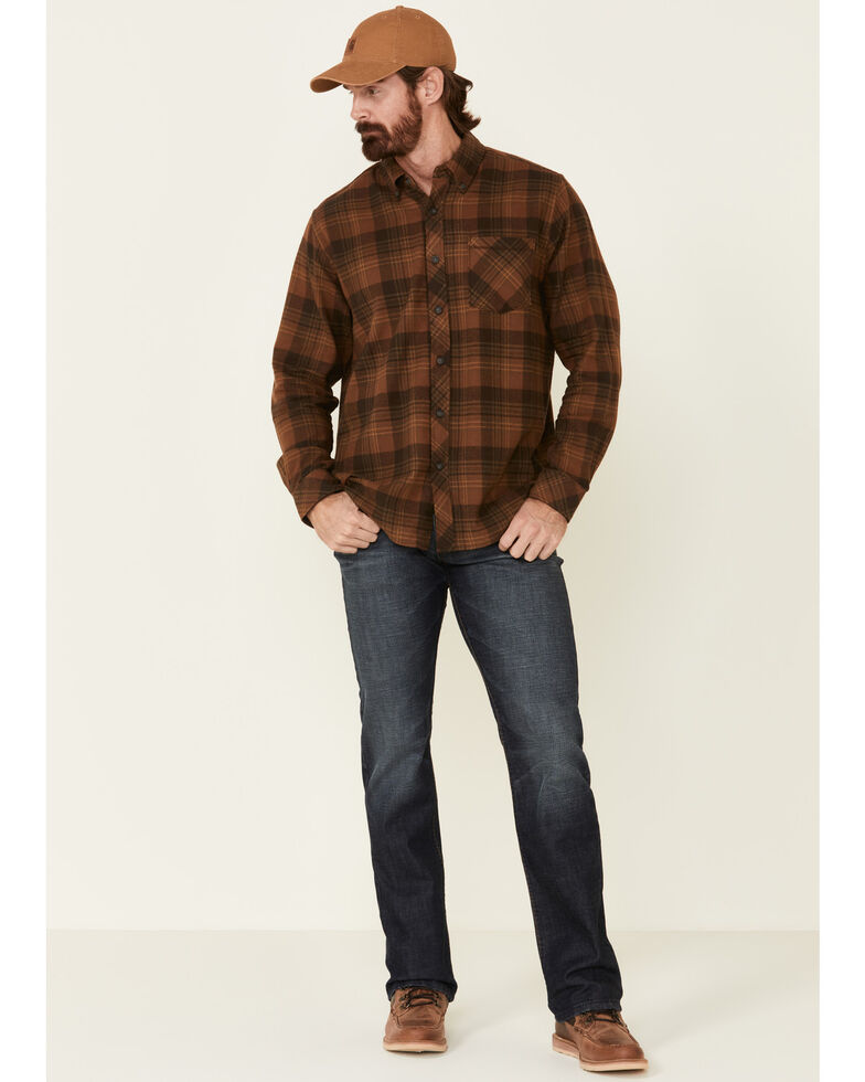 North River Men's Brown Barn Plaid Long Sleeve Western Flannel Shirt , Lt Brown, hi-res