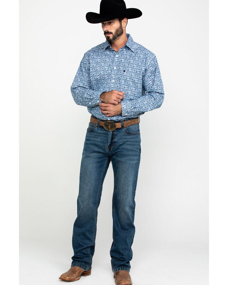Tuf Cooper Men's Blue Large Stretch Geo Print Long Sleeve Western Shirt , Blue, hi-res