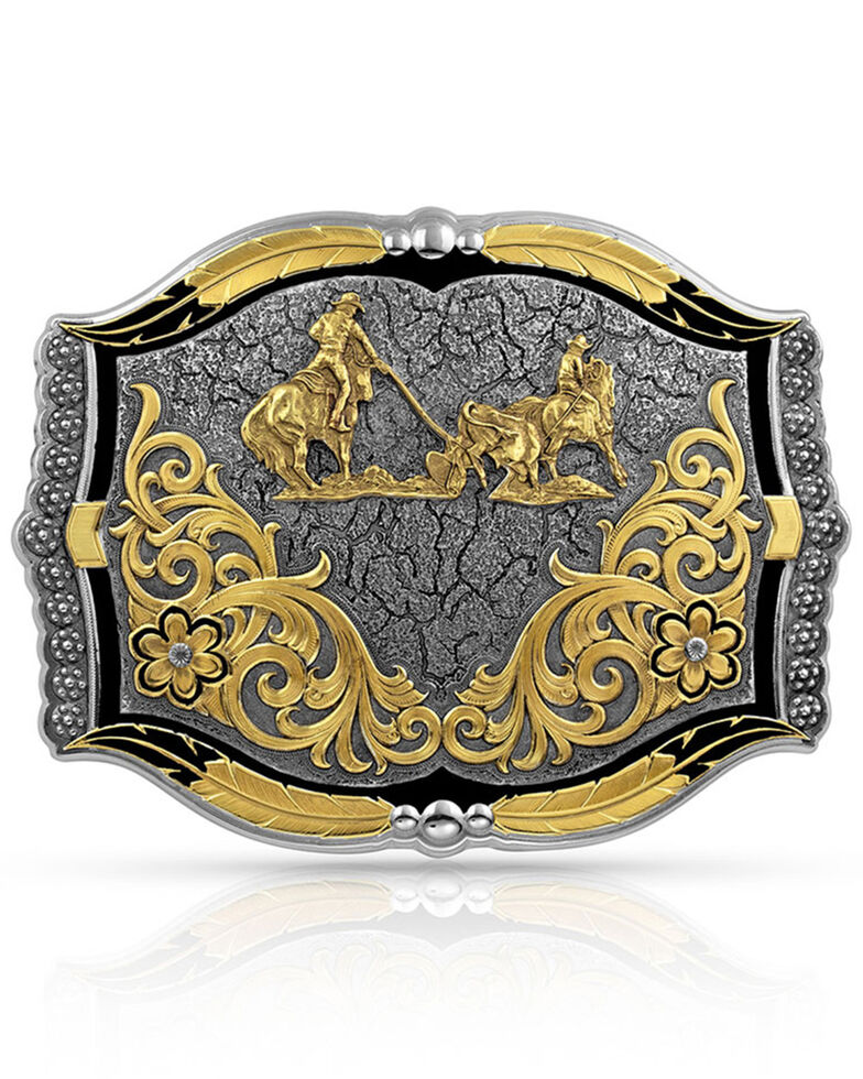 Montana Silversmiths Men's Cracked EarthTeam Roper Buckle, Silver, hi-res