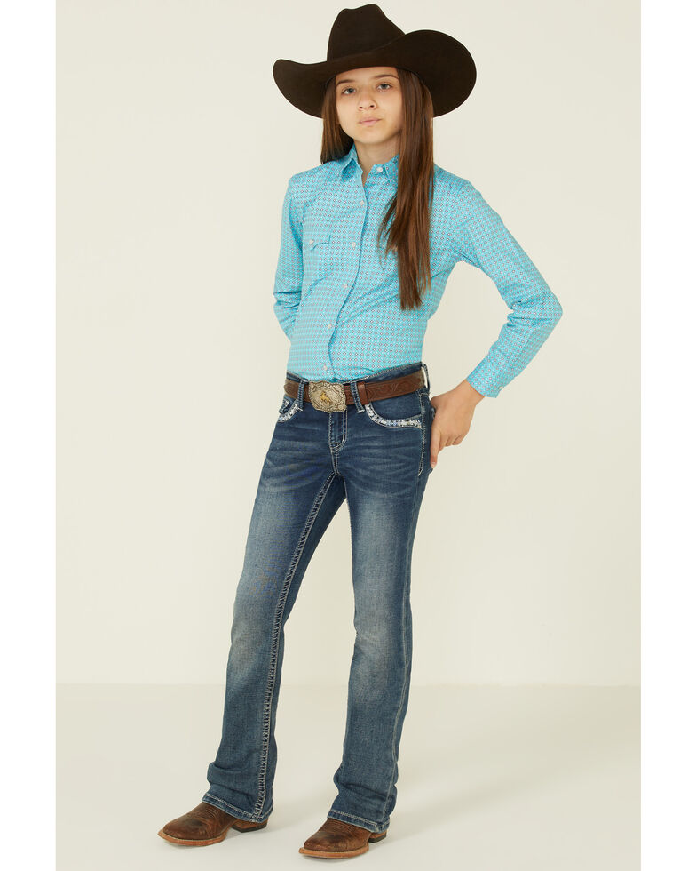 Rough Stock By Panhandle Girls' Diamond Geo Print Long Sleeve Snap Western Shirt , , hi-res