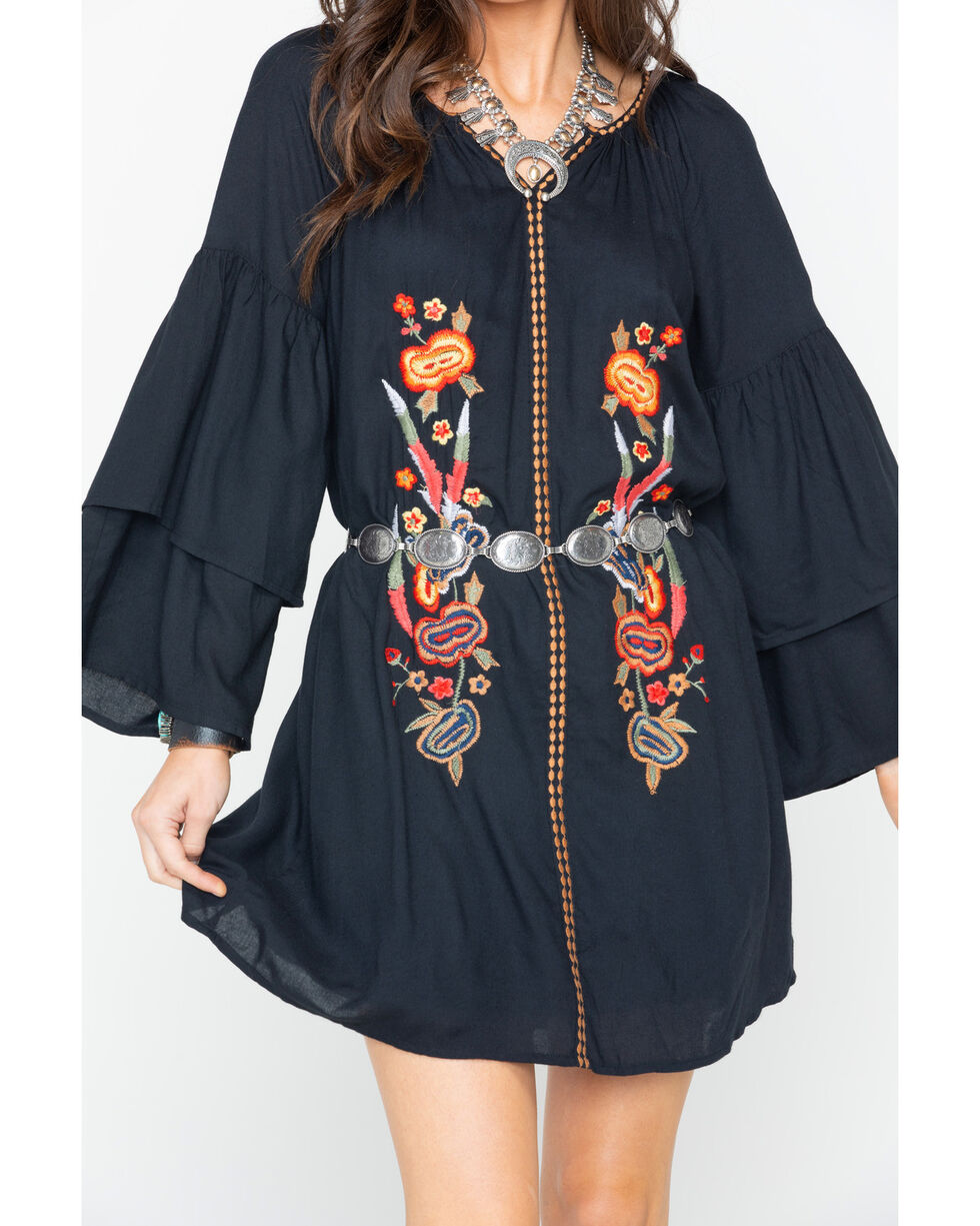 Wrangler Women's Floral Embroidered Shift Dress , Black, hi-res
