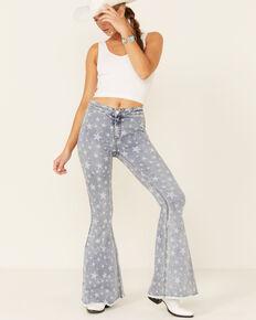 Rock & Roll Denim Women's Star High-Rise Bell-Bottom Jeans, Light Blue, hi-res