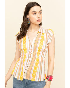 Shyanne Women's Yellow Stripe Button Short Sleeve Top , Yellow, hi-res