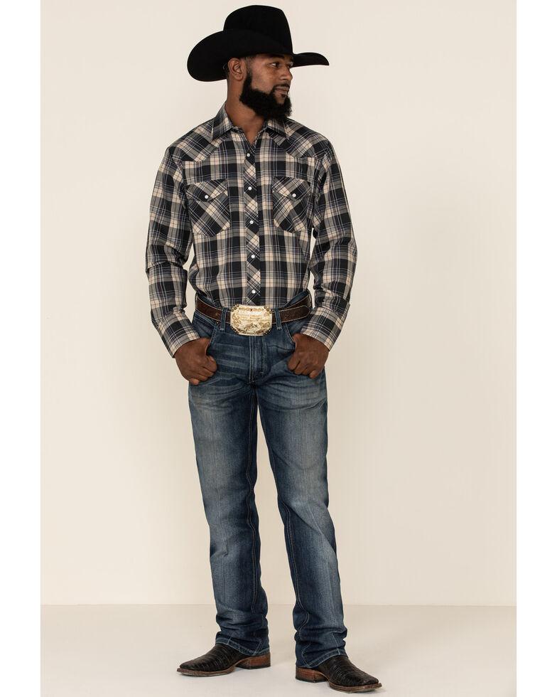 Roper Men's Black Classic Small Plaid Long Sleeve Western Shirt , Black, hi-res