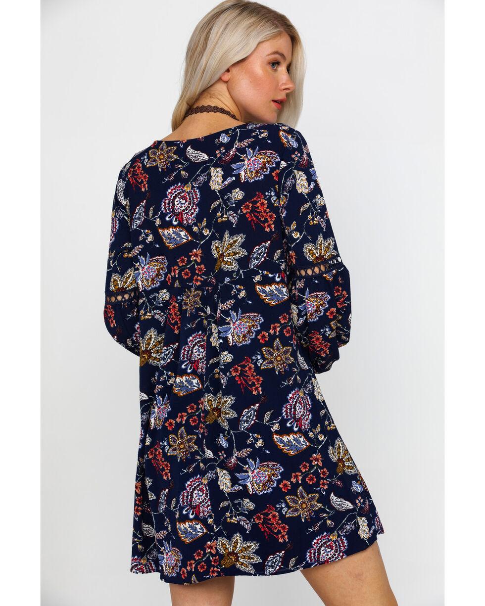 Wrangler Women's Floral Paisley Print Long Sleeve Shift Dress , Navy, hi-res