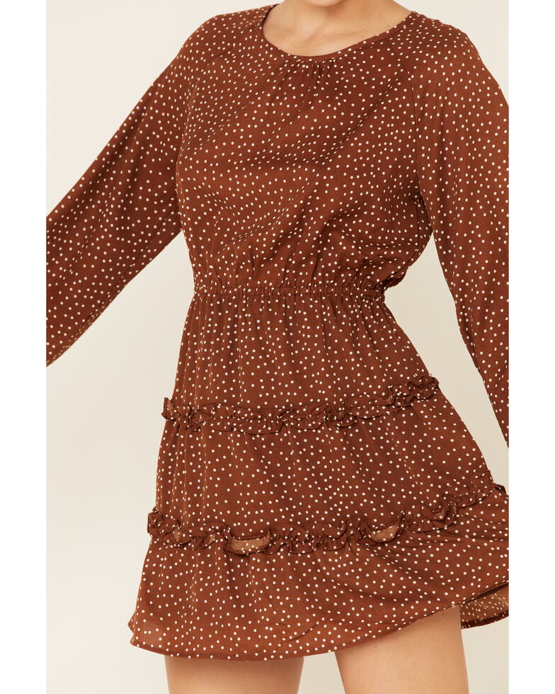 Very J Women's Mocha Print Tiered Dress, Brown, hi-res
