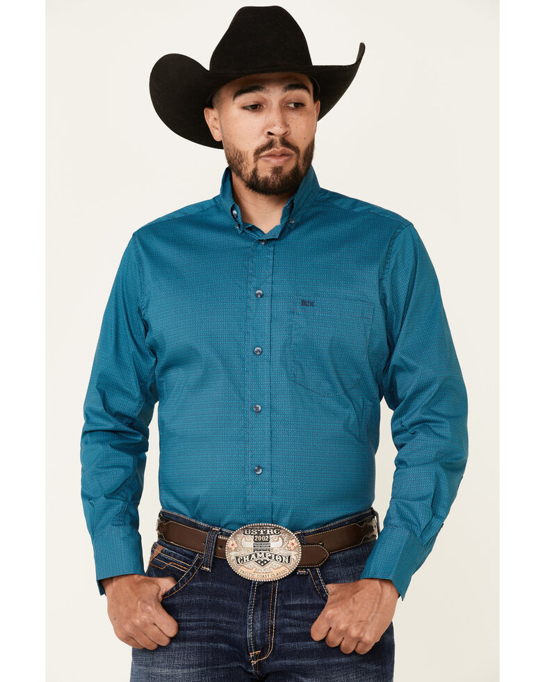 Wrangler 20X Men's Teal Small Geo Print Long Sleeve Button-Down Western Shirt , Teal, hi-res
