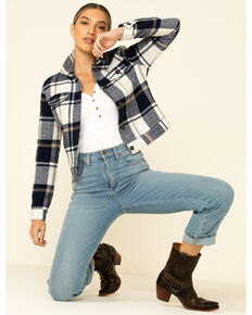 26 International Women's Navy Plaid Trucker Jacket , Navy, hi-res
