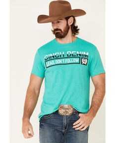 Cinch Men's Turquoise Lead Don't Follow Graphic Short Sleeve T-Shirt , Green, hi-res