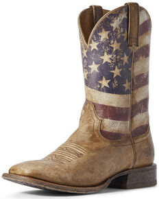 Ariat Men's Circuit Proud American Flag Western Boots - Wide Square Toe, Brown, hi-res