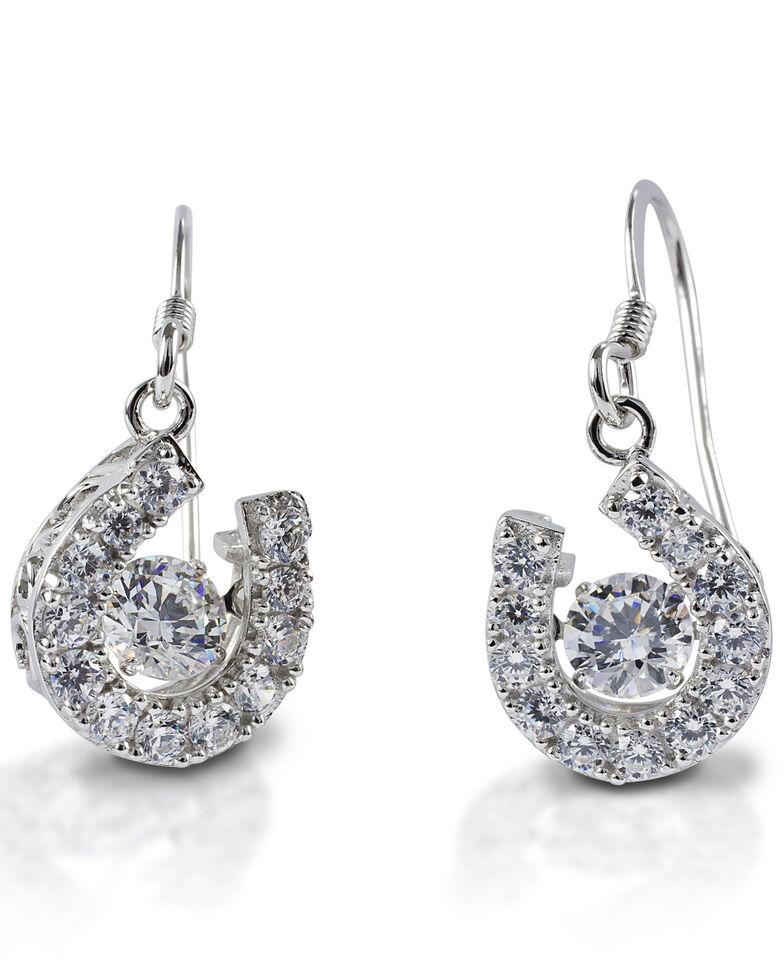 Kelly Herd Women's Dancing Stone Horseshoe Dangle Earrings, Silver, hi-res