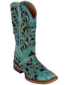 Ferrini Women's Horseshoe Turquoise Western Boots - Square Toe, Turquoise, hi-res
