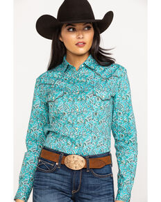 Rough Stock by Panhandle Women's Printed Long Sleeve Western Shirt - Plus, Turquoise, hi-res