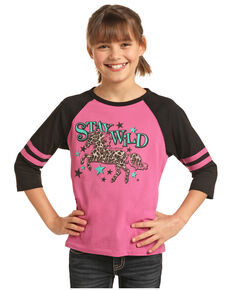 Rock & Roll Cowgirl Girls' Stay Wild Leopard Horse Baseball Tee, Pink, hi-res
