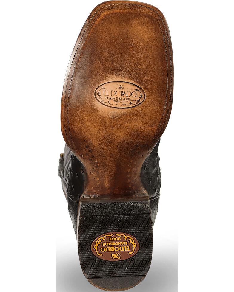 El Dorado Men's Handmade Full Quill Ostrich Stockman Boots - Square Toe, Black, hi-res
