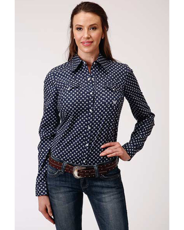Amarillo Women's Sweetwater Small Paisley Print Long Sleeve Snap Western Core Shirt , Blue, hi-res