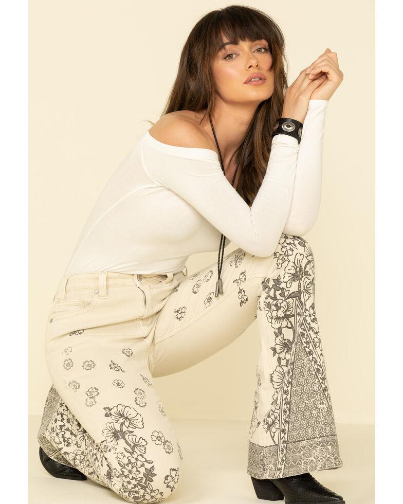 Rock & Roll Denim Women's Tan Floral Print High Rise Flare Jeans , Tan, hi-res