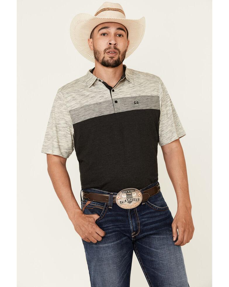 Cinch Men's Charcoal Colorblock Arena Flex Short Sleeve Polo Shirt, Charcoal, hi-res