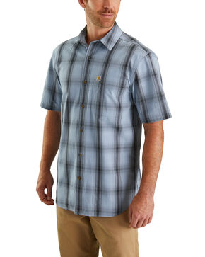 Carhartt Men's Essential Plaid Short Sleeve Work Shirt - Tall , Blue, hi-res