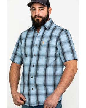 Carhartt Men's Essential Plaid Short Sleeve Work Shirt , Blue, hi-res