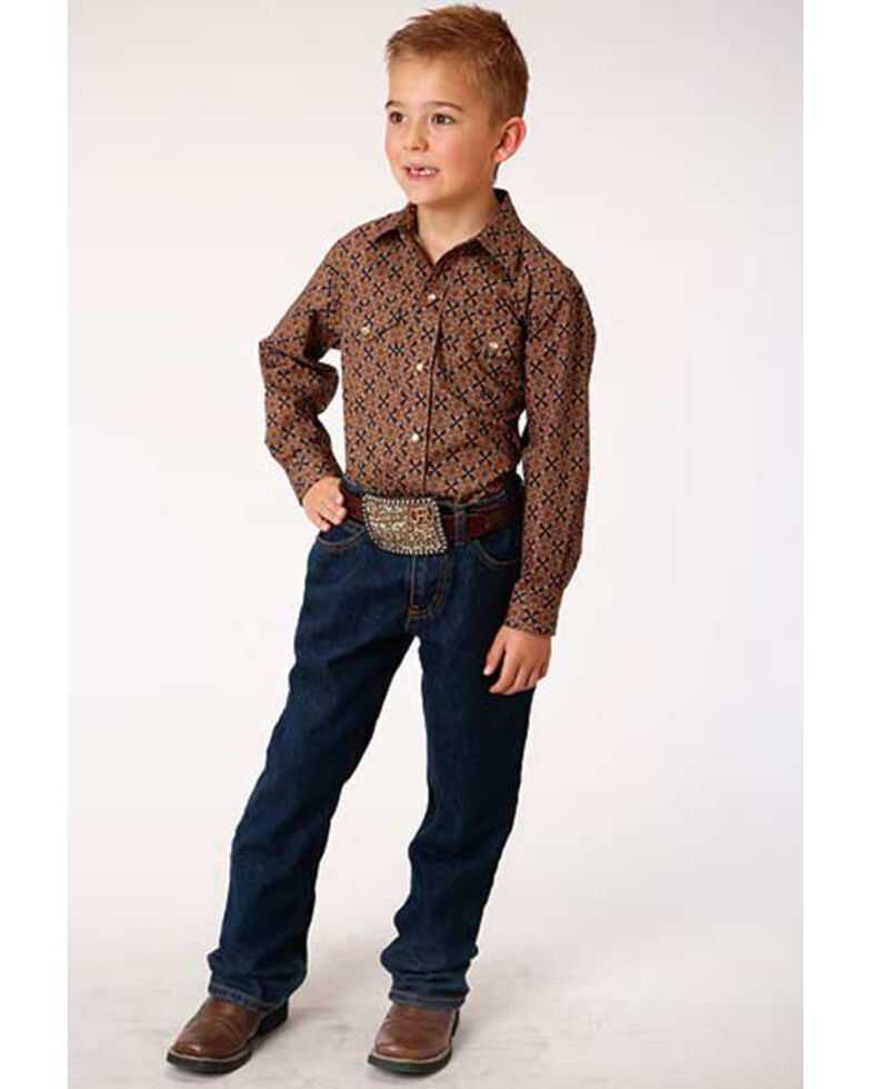 Roper Boys' Cedar Brook Amarillo Diamond Geo Print Long Sleeve Western Shirt , Brown, hi-res