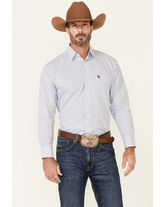 George Strait By Wrangler Men's Small Plaid Long Sleeve Button-Down Western Shirt , White, hi-res