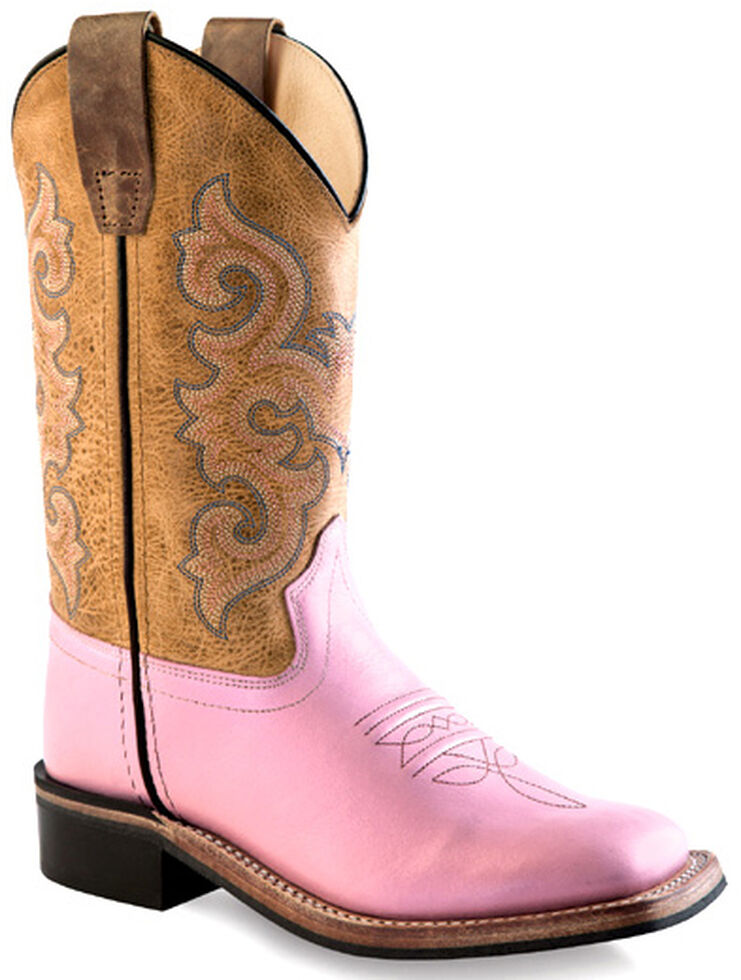 7f6eec3a9 Old West Youth Girls  Pink Cowgirl Boots - Square Toe - Country ...