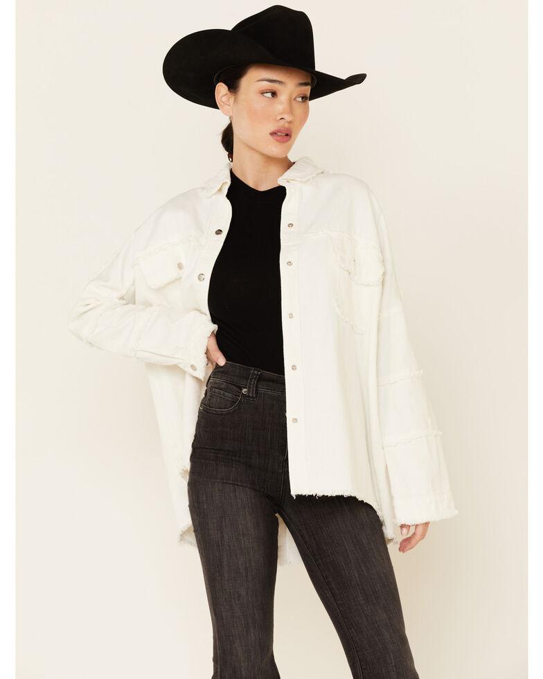Revel Women's Ivory Rock & Roll Oversized Frayed Long Sleeve Snap Denim Shirt , Ivory, hi-res