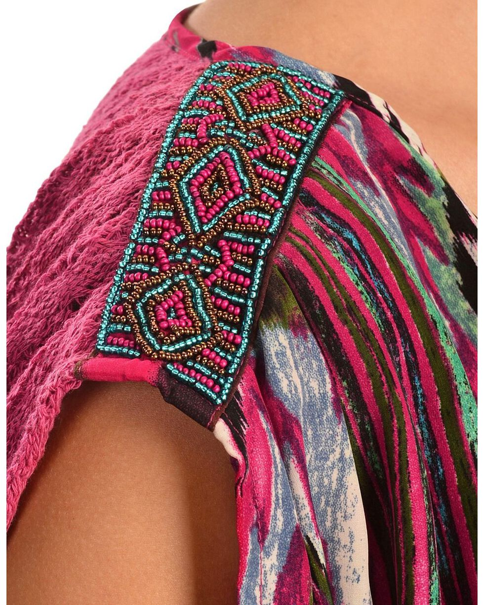 Miss Me Beaded Shoulder Crochet Back Woven Top, Fuchsia, hi-res