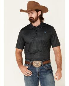 Rock & Roll Denim Men's Black Geo Print Short Sleeve Polo Shirt , Black, hi-res
