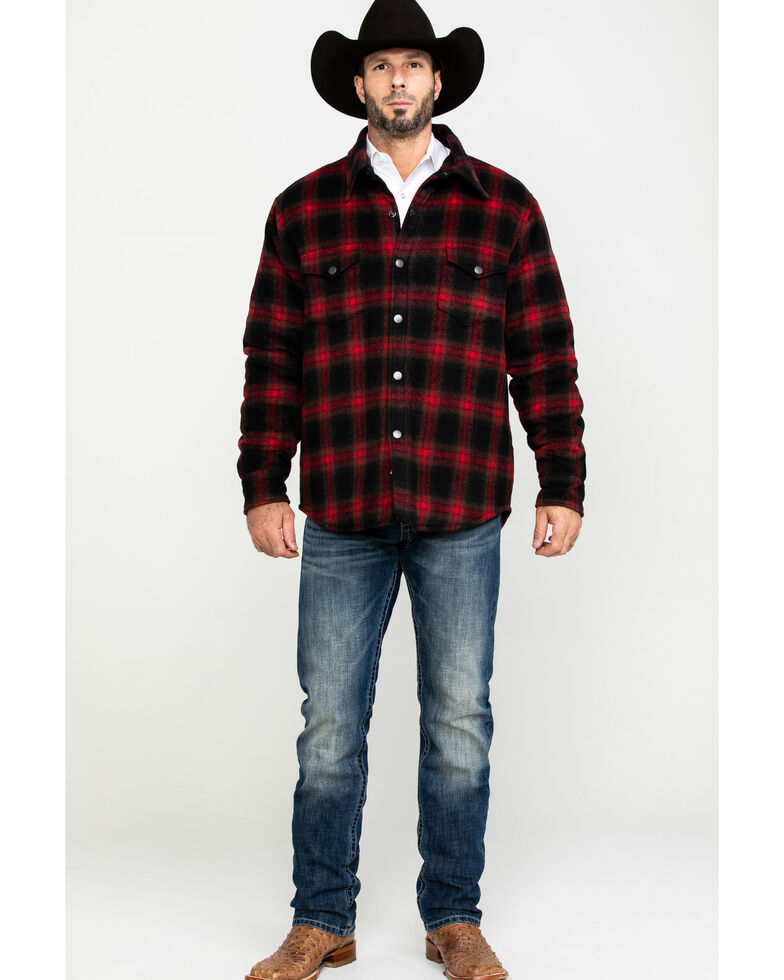 Stetson Men's Quilt Lined Plaid Shirt Jacket , Red, hi-res