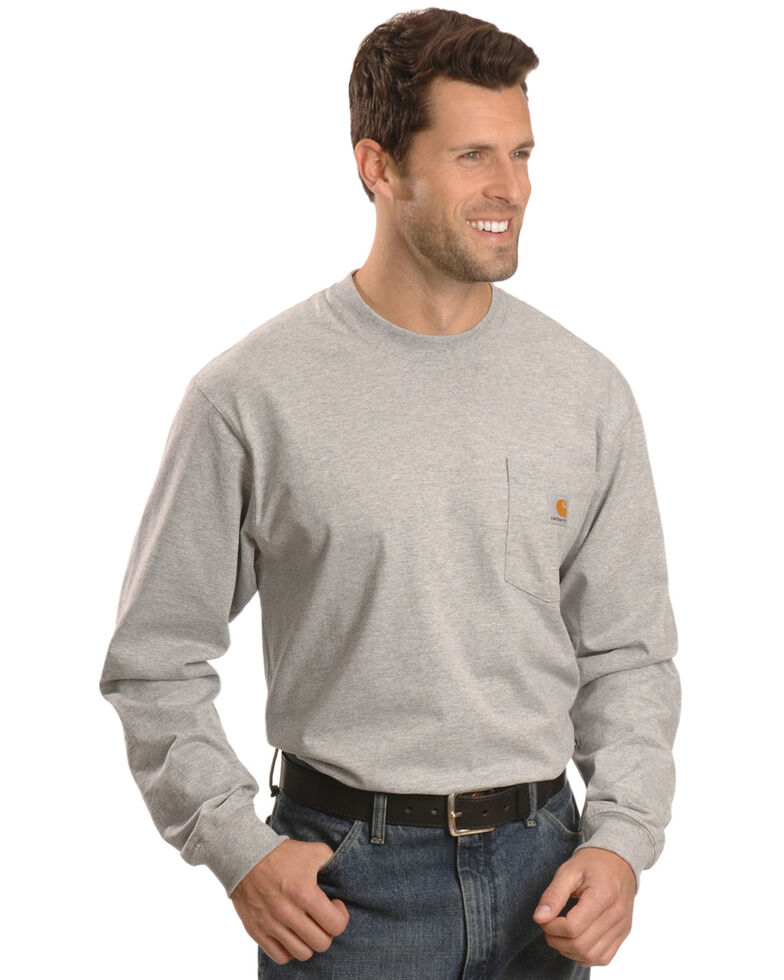 Carhartt Men's Pocket Long Sleeve Work Shirt - Tall, Hthr Grey, hi-res